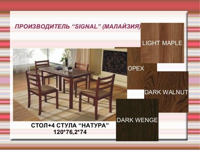 """ОРЕХ ПРОИЗВОДИТЕЛЬ """"SIGNAL"""" (МАЛАЙЗИЯ) СТОЛ+4 СТУЛА """"НАТУРА"""" 120*76,2*74 DARK WALNUT LIGHT MAPLE DARK WENGE"""