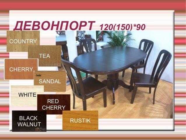 ДЕВОНПОРТ 120(150)*90 COUNTRY TEA CHERRY SANDAL WHITE RED CHERRY BLACK WALNUT RUSTIK