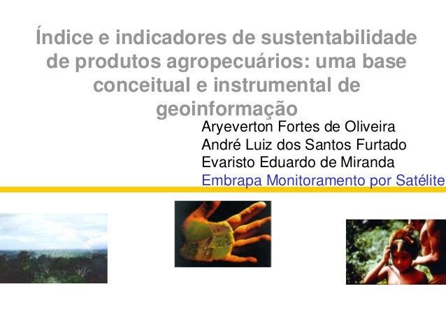 Índice e indicadores de sustentabilidade de produtos agropecuários: uma base conceitual e instrumental de geoinformação Mi...