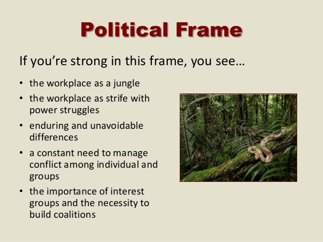 the political frame Structural human resource political symbolic each of these frames plays an important role in understanding the whole of an organization if you were to look.