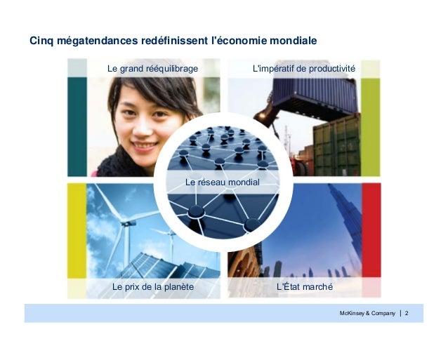 McKinsey & Company | 2Cinq mégatendances redéfinissent léconomie mondialeLe prix de la planèteLimpératif de productivitéLÉ...