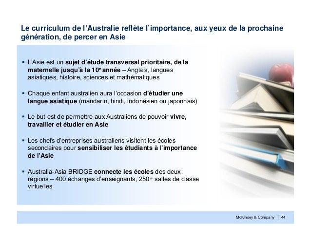McKinsey & Company | 44Le curriculum de l'Australie reflète l'importance, aux yeux de la prochainegénération, de percer en...