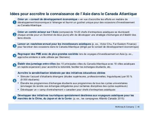 McKinsey & Company | 45Idées pour accroître la connaissance de l'Asie dans le Canada AtlantiqueCréer un « conseil de dével...