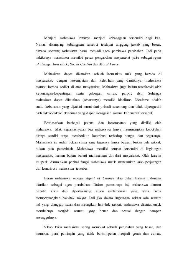 essay peran mahasiswa sebagai agent of change social control dan iron stock