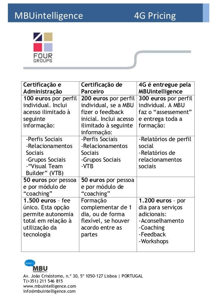MBUintelligence                                       4G Pricing*Procing Certificação e              Certificação de      ...