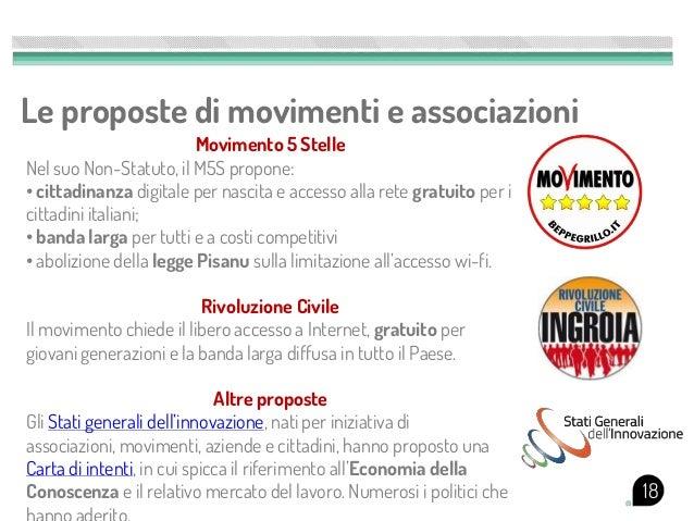 Le proposte di movimenti e associazioni                        Movimento 5 StelleNel suo Non-Statuto, il M5S propone:• cit...