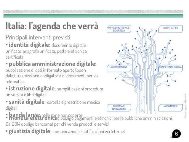 Italia: l'agenda che verràPrincipali interventi previsti:• identità digitale: documento digitaleunificato, anagrafe unific...