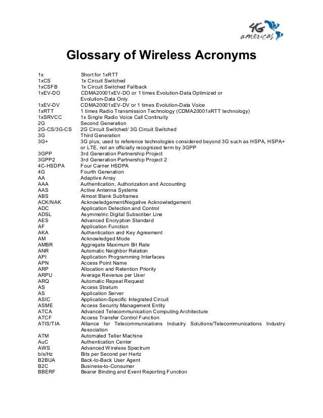 Glossary of Wireless Acronyms1x            Short for 1xRTT1xCS          1x Circuit Switched1xCSFB        1x Circuit Switch...