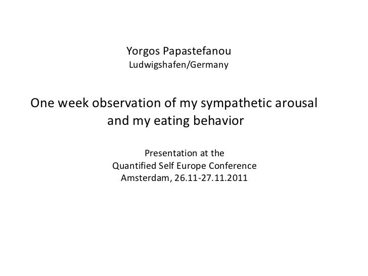 Yorgos Papastefanou Ludwigshafen/Germany <ul><li>One week observation of my sympathetic arousal  </li></ul><ul><li>and my ...