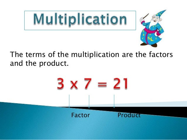 The terms of the multiplication are the factors and the product.  Factor  Product