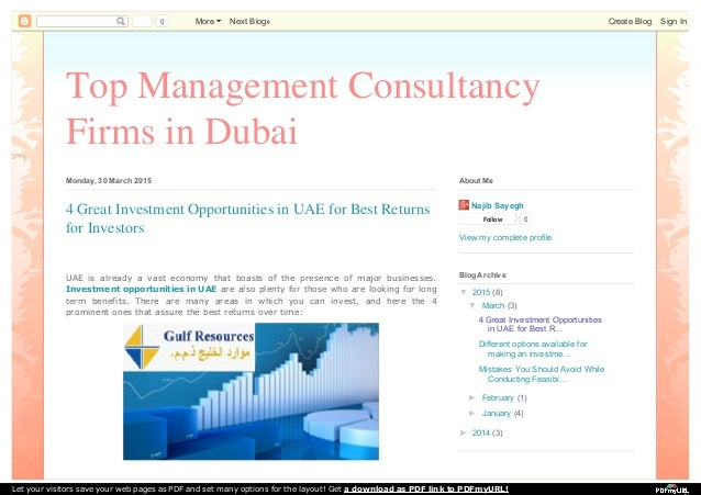 Top Management Consultancy Firms in Dubai Monday, 30 March 2015 UAE is already a vast economy that boasts of the presence ...