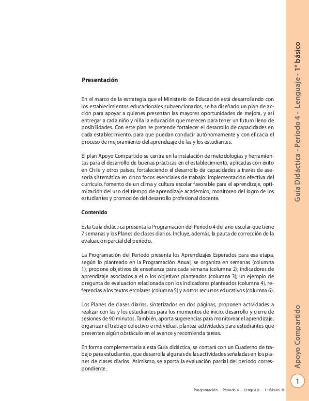 1 GuíaDidáctica-Período4-Lenguaje-1°básicoApoyoCompartido Programación - Período 4 - Lenguaje - 1º Básico Presentación En ...