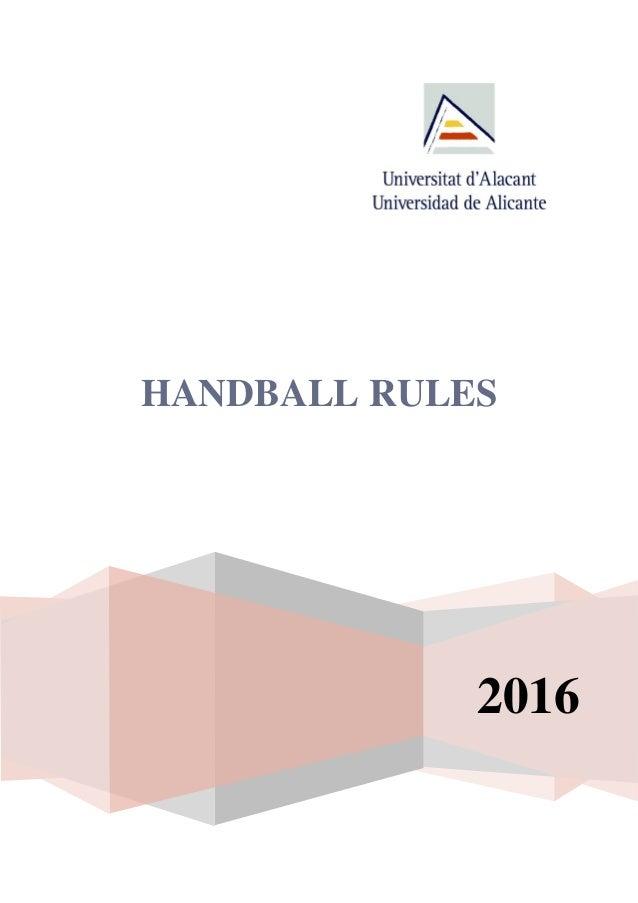 HANDBALL RULES 2016