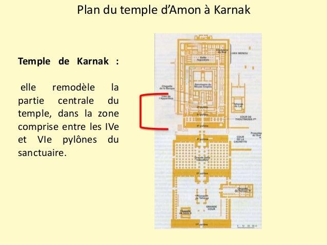 Plan du temple d'Amon à Karnak Temple de Karnak : elle remodèle la partie centrale du temple, dans la zone comprise entre ...