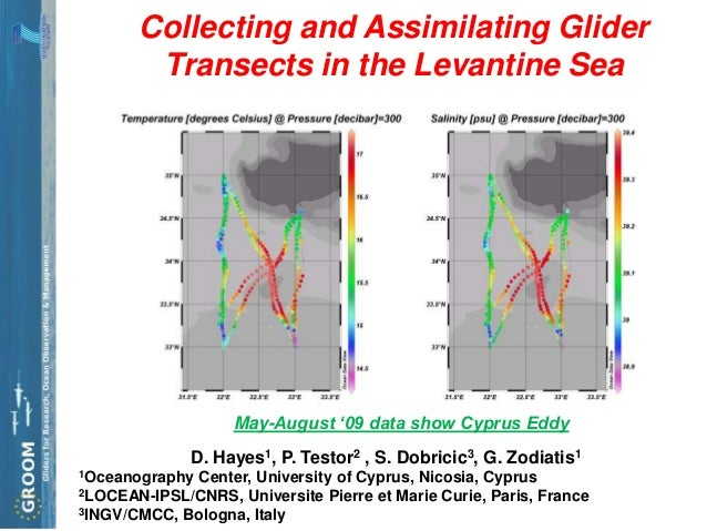 Collecting and Assimilating Glider        Transects in the Levantine Sea                    May-August '09 data show Cypru...