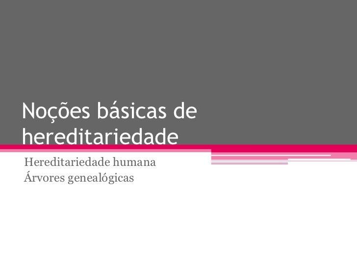 Noções básicas dehereditariedadeHereditariedade humanaÁrvores genealógicas