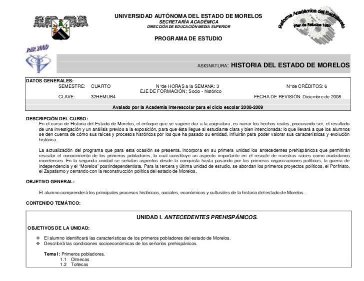 UNIVERSIDAD AUTÓNOMA DEL ESTADO DE MORELOS                                                                SECRETARÍA ACADÉ...