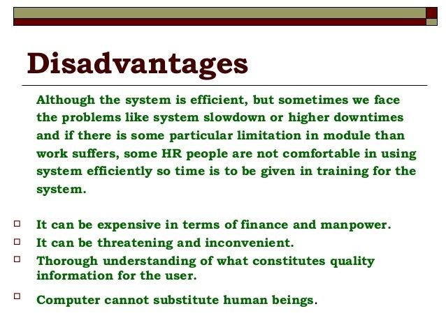 Advantages and disadvantages of hris
