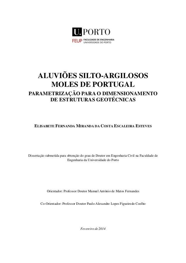 ALUVIÕES SILTO-ARGILOSOS MOLES DE PORTUGAL PARAMETRIZAÇÃO PARA O DIMENSIONAMENTO DE ESTRUTURAS GEOTÉCNICAS ELISABETE FERNA...