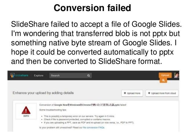 failed on uploading slides from google drive