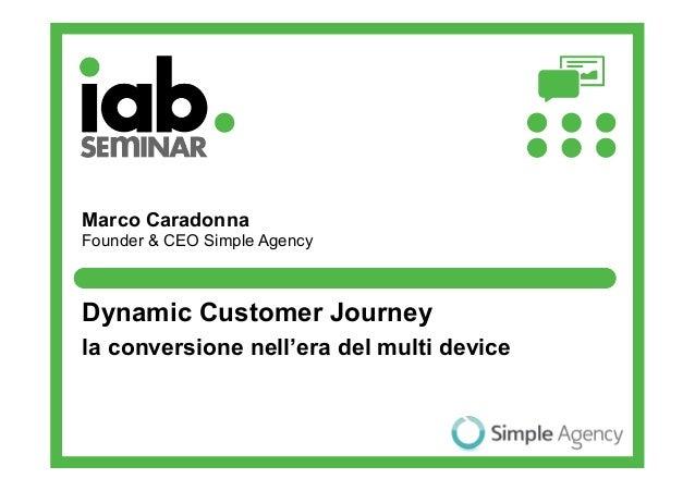 Marco CaradonnaFounder & CEO Simple AgencyDynamic Customer Journeyla conversione nell'era del multi device