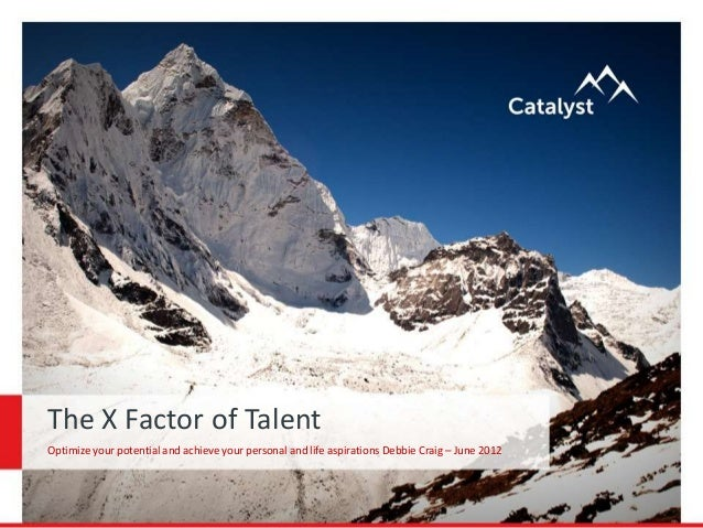 The X Factor of Talent Optimize your potential and achieve your personal and life aspirations Debbie Craig – June 2012