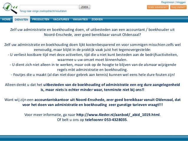Zelf uw administratie en boekhouding doen, of uitbesteden aan een accountant / boekhouder uit Noord-Enschede, zeer goed be...