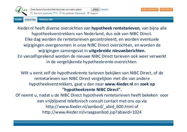4ieder aanbod hypotheekrente 600 nibc direct hypotheek for Hypotheekrente overzicht
