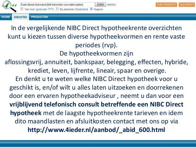 Hypotheekrente nibc direct for Hypotheek aflossingsvrij