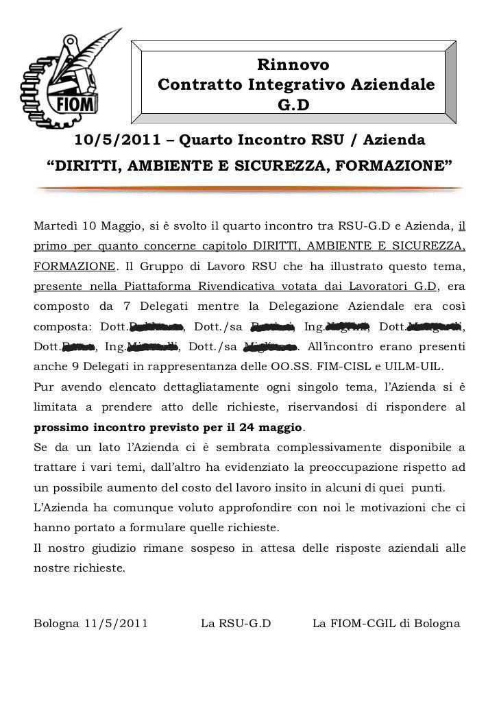 Rinnovo                      Contratto Integrativo Aziendale                                   G.D       10/5/2011 – Quart...