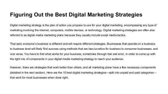 compare the marketing techniques Types of marketing strategies and definition marketing strategies are used by businesses to promote their products and services let's have a look at the proper definition.