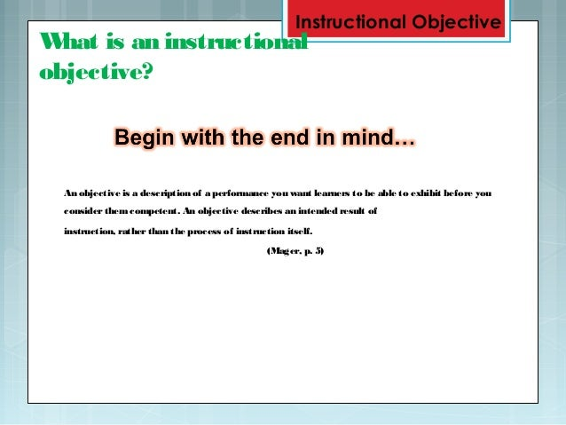 examples of instructional goals