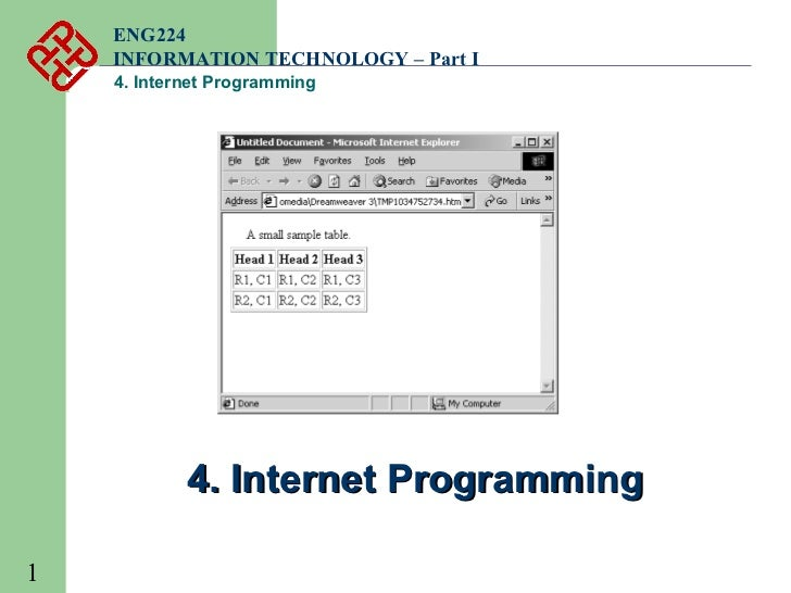 ENG224    INFORMATION TECHNOLOGY – Part I    4. Internet Programming            4. Internet Programming1