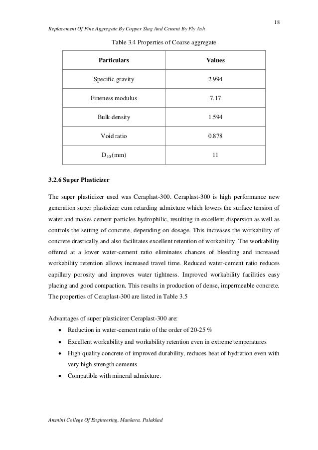 Slag Cement Density : Partial replacement of fine aggreggate by copper slag and