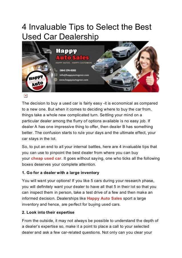Used Car Dealerships Websites >> 4 Invaluable Tips To Select The Best Used Car Dealership