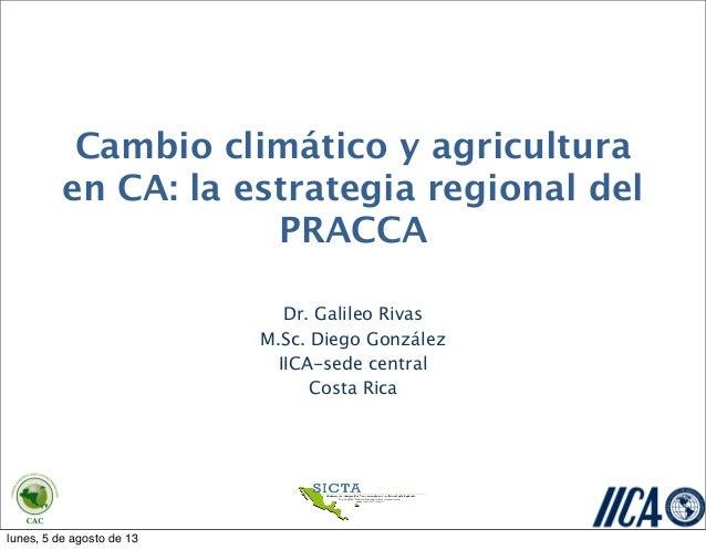 Cambio climático y agricultura en CA: la estrategia regional del PRACCA Dr. Galileo Rivas M.Sc. Diego González IICA-sede c...