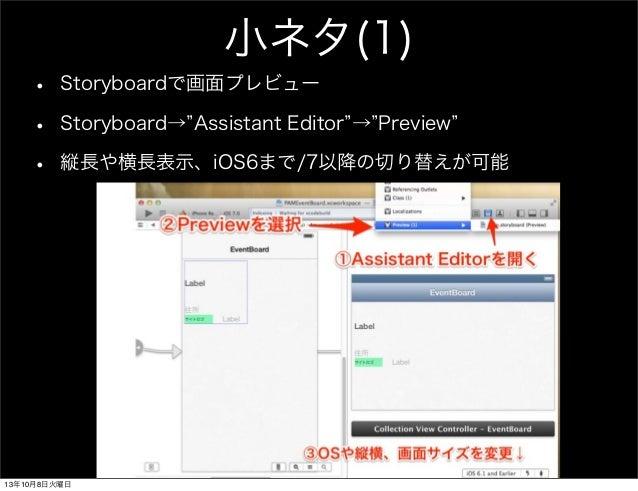 小ネタ(1) • Storyboardで画面プレビュー • Storyboard→ Assistant Editor → Preview • 縦長や横長表示、iOS6まで/7以降の切り替えが可能 13年10月8日火曜日