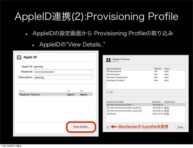 AppleID連携(2):Provisioning Profile • AppleIDの設定画面から Provisioning Profileの取り込み • AppleIDの View Details.. 13年10月8日火曜日