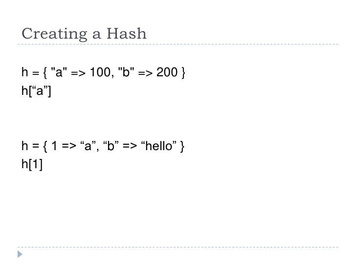 ruby language array hash and iterators