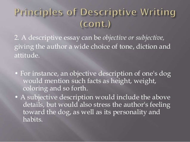 descriptive writing 4 2 a descriptive essay