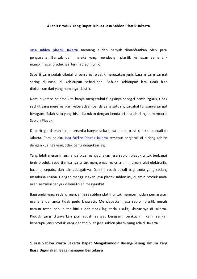 4 Jenis Produk Yang Dapat Dibuat Jasa Sablon Plastik Jakarta Jasa sablon plastik Jakarta memang sudah banyak dimanfaatkan ...