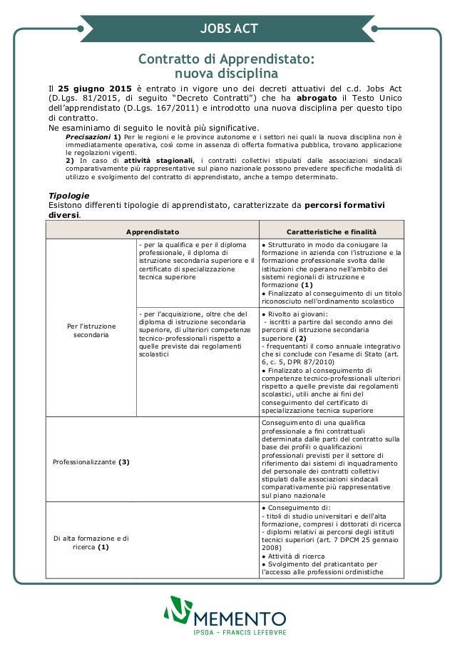 Jobs act contratto di apprendistato for Contratto di locazione 4 4 modello