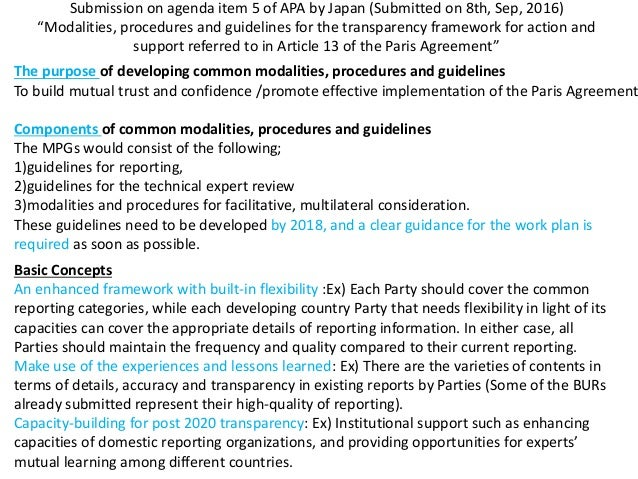 Modalities Procedures And Guidelines For The Transparency Framework