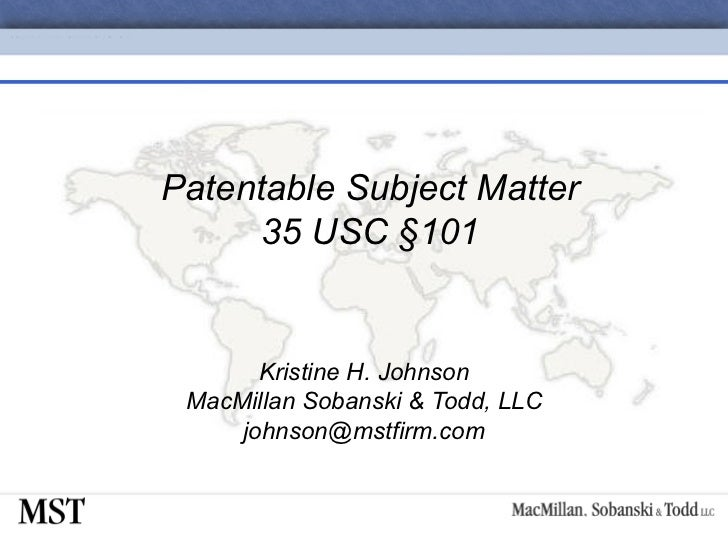 04-Patentable Subject Matter 35 USC §101