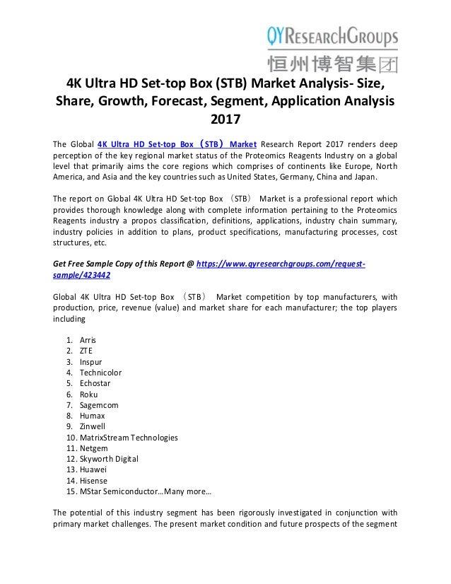 4K Ultra HD Set-top Box(STB)Market analysis- size, share