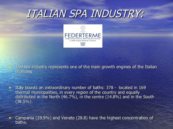 ITALIAN SPA INDUSTRY:   <ul><li>The spa industry represents one of the main growth engines of the Italian economy. </li></...