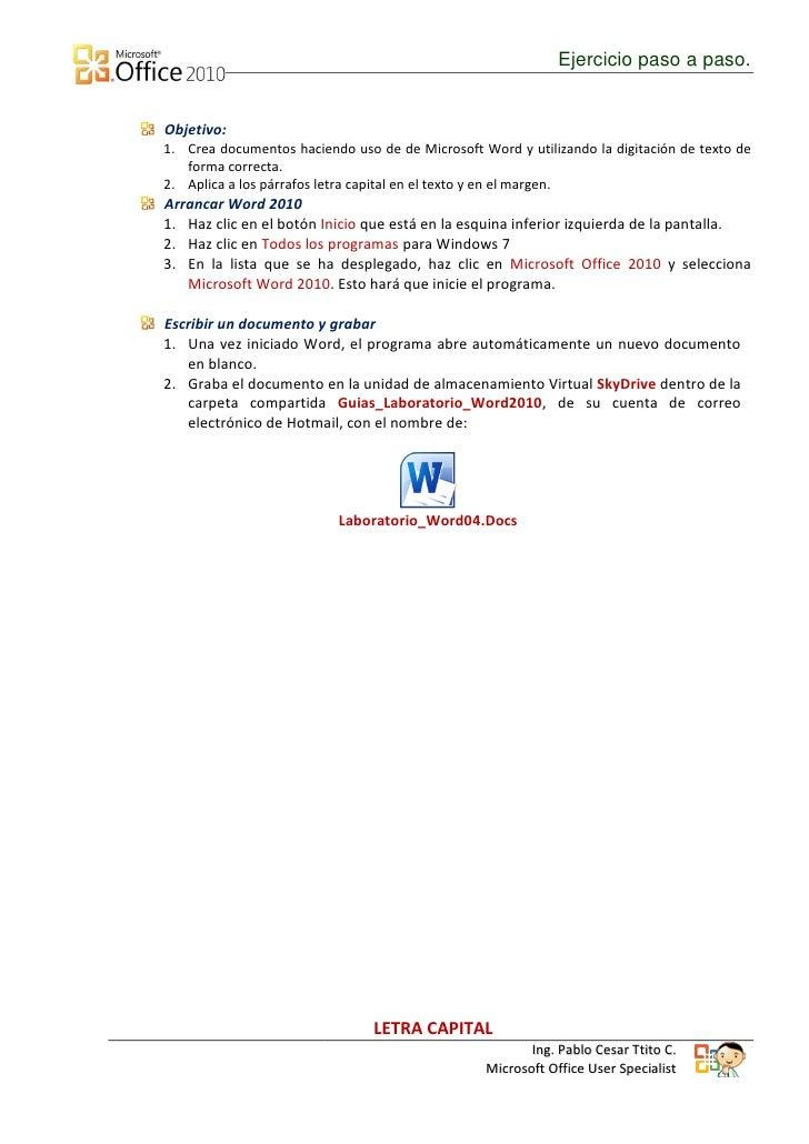 Letra Capital en Word 2010 Slide 2