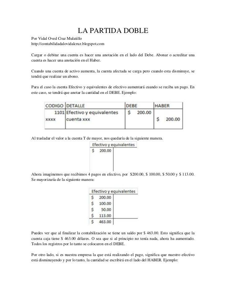 LA PARTIDA DOBLE<br />Por Vidal Oved Cruz Mulatillo<br />http://contabilidadalovidalcruz.blogspot.com<br />Cargar o debita...