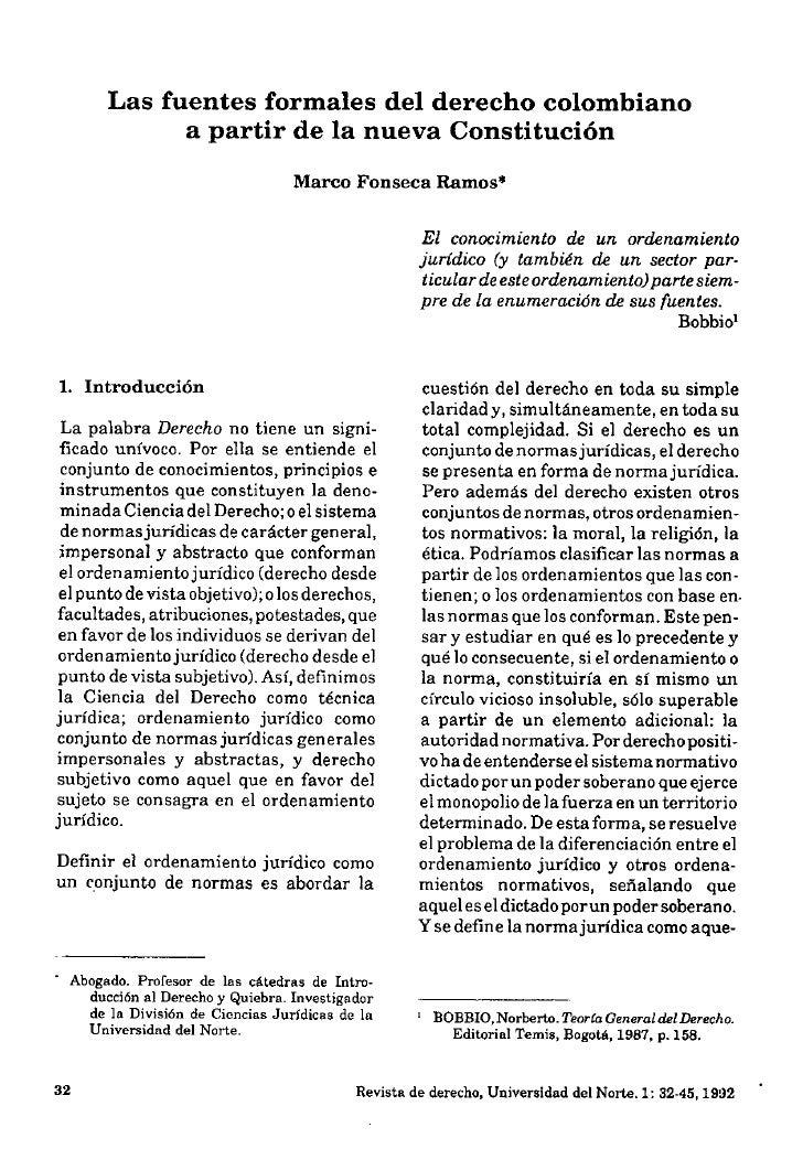 Las fuentes formales del derecho colombiano              a partir de la nueva Constitución                                ...