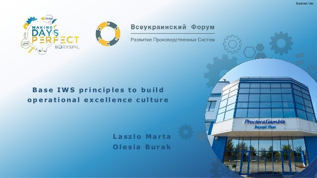 Business Use Base IWS principles to build o p e ra tio na l e x ce lle nce culture La sz lo Ma rta Olesia Bura k